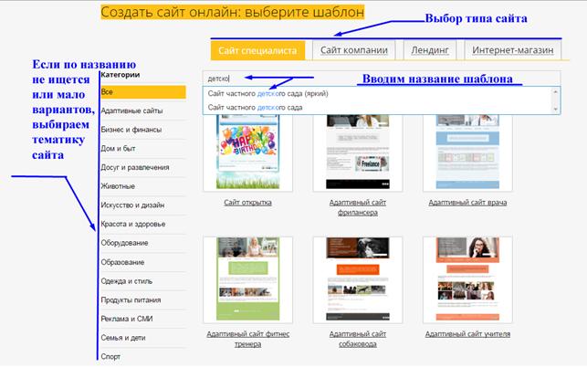 Выбор шаблона сайта для детского сада