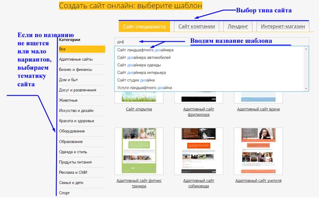 Выбор шаблона сайта для дизайнера