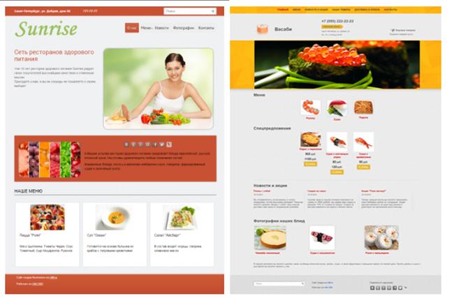Дизайн сайта для кафе или ресторана